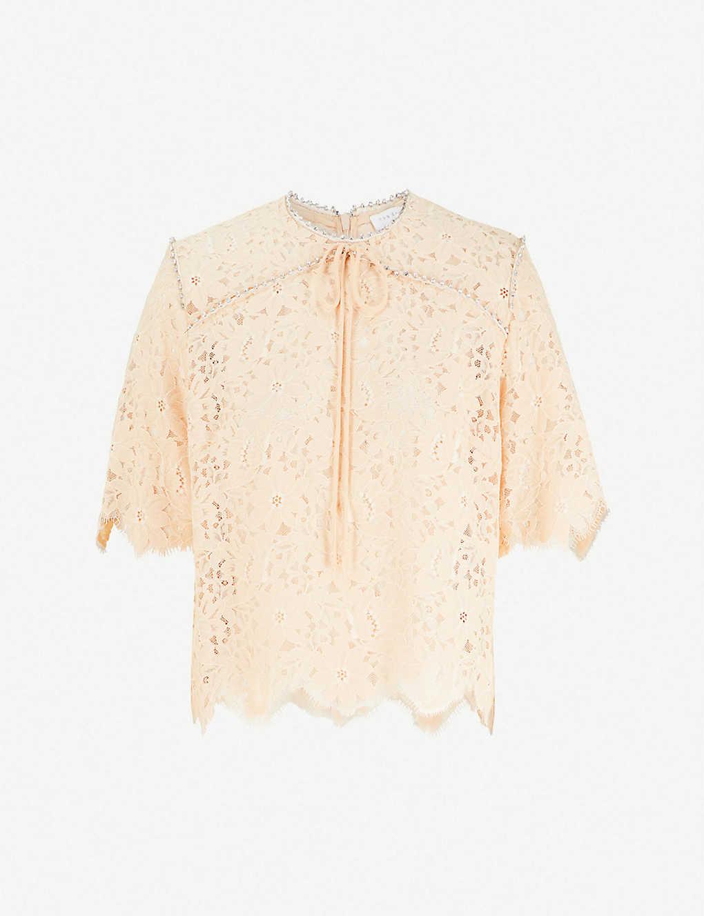 Sandro Embellished Lace Top Selfridges Com