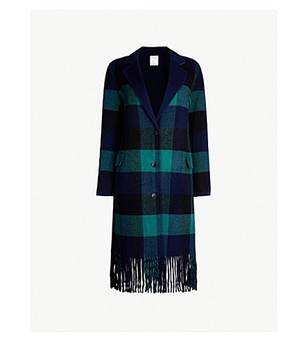Checked Wool Blend Coat by Sandro
