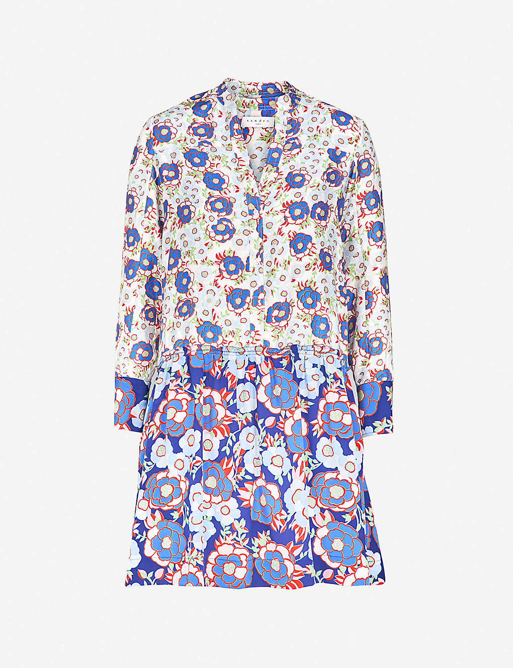 92d6274941a SANDRO - Dropped waist all-over print silk dress