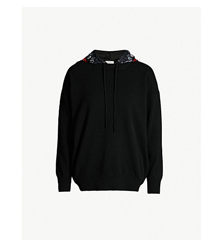 Jonquille Printed Hood Wool And Cashmere Blend Hoody by Sandro