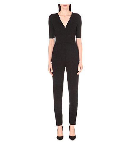 7b54fd825290 ... FRENCH CONNECTION Beau scalloped jersey jumpsuit (Black. PreviousNext