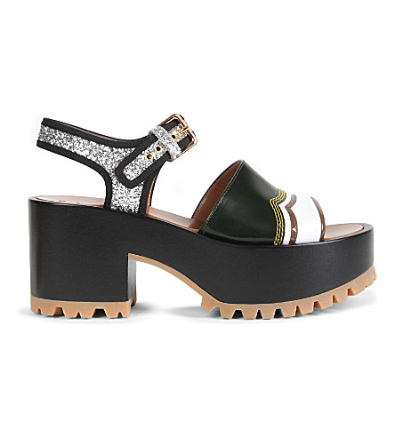 2fab31d0793 ... MARNI One-band glitter and leather wedge sandals (Ginepro+silver.  PreviousNext