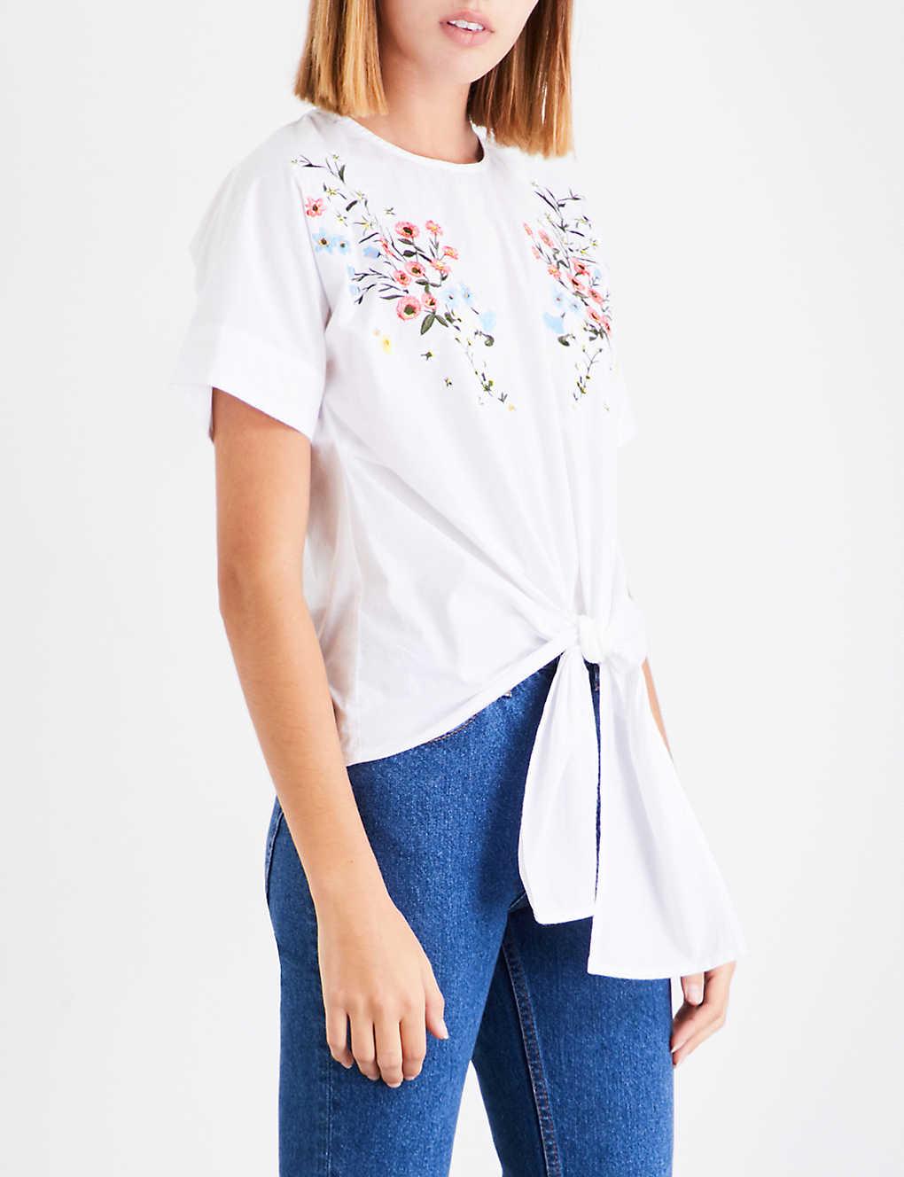 ee404615 WAREHOUSE - Freida floral-embroidered cotton-poplin top | Selfridges.com