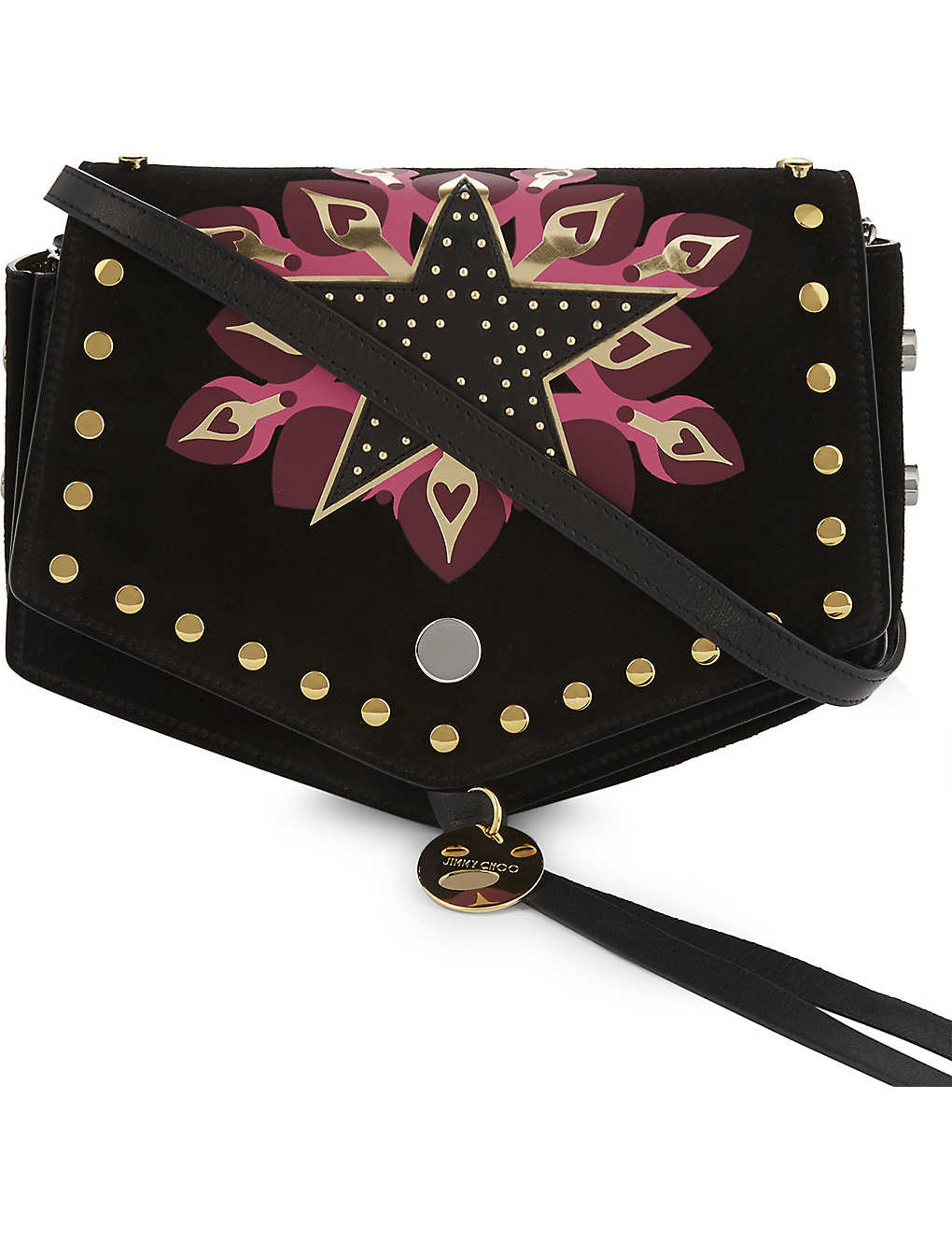 964d32bb44e39 JIMMY CHOO - Arrow Galaxy Star stud-embellished suede cross-body bag ...