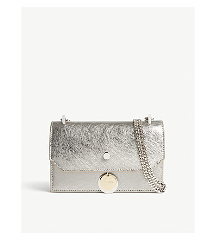 9faf734d0e9d ... JIMMY CHOO Finley metallic-leather cross-body bag (Vintage silver.  PreviousNext