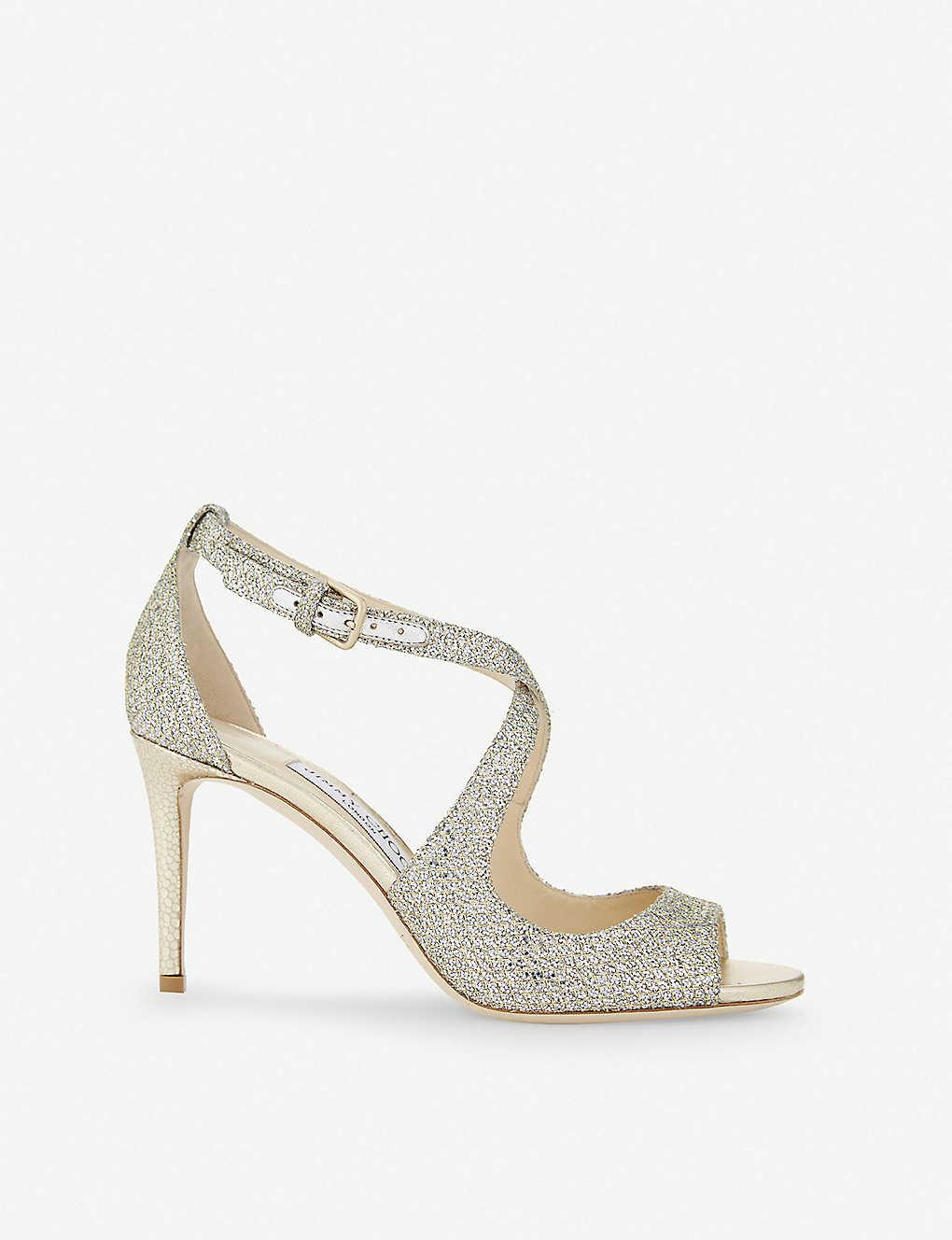 JIMMY CHOO - Emily 85 champagne glitter heeled sandals  a3ed1a893c17