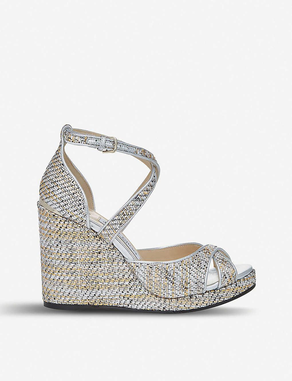 9558f5ee5228 JIMMY CHOO - Alanah 105 woven metallic wedge sandals