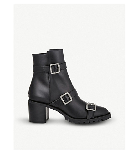 05d04871fa40 ... JIMMY CHOO Hank embellished leather ankle boots (Black. PreviousNext
