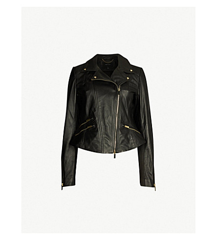 b479f7c83ac21 ... Studded leather biker jacket (Black. PreviousNext