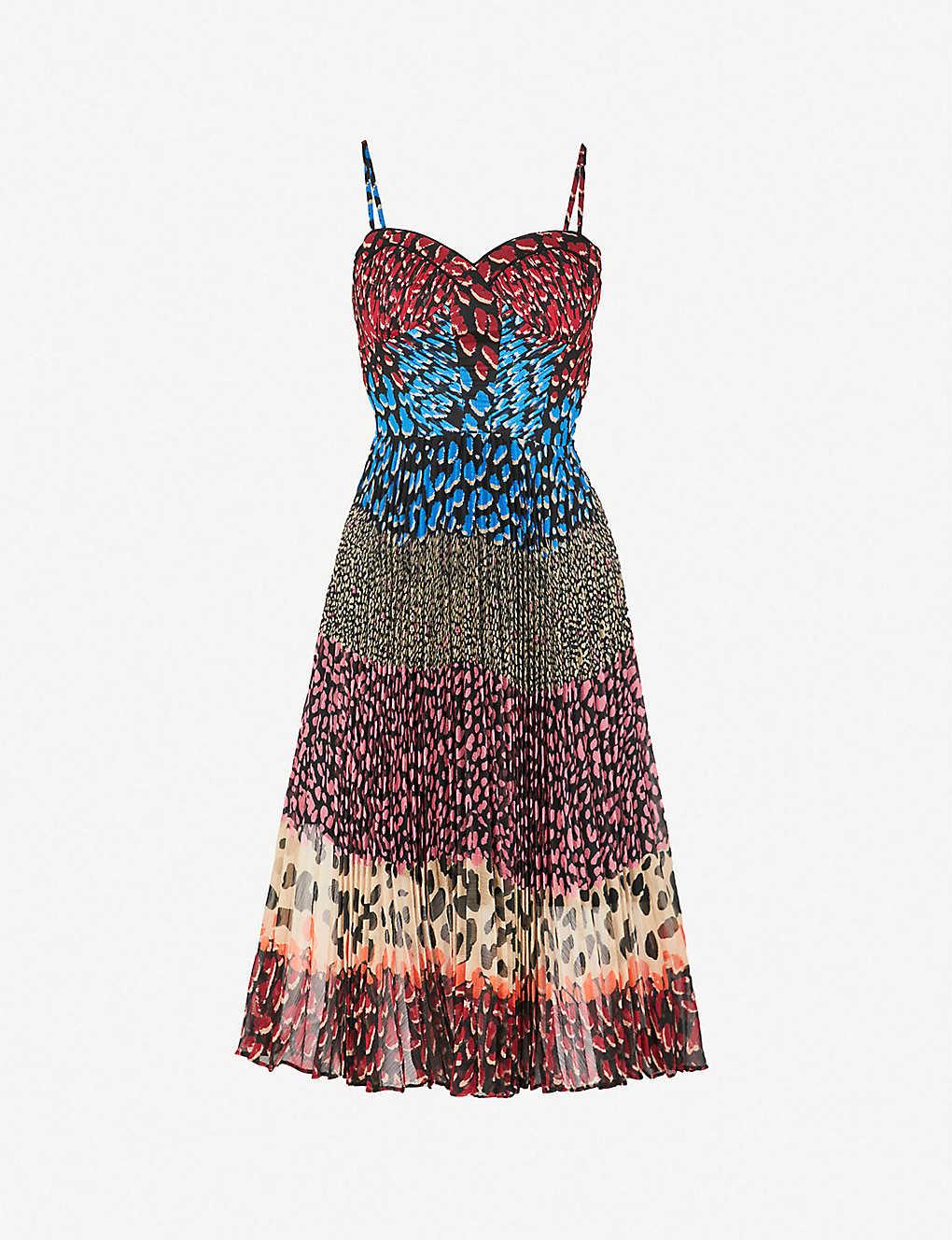 634d010694 KAREN MILLEN - Animal-print pleated midi crepe dress
