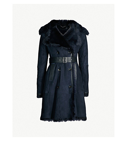 Belted Shearling Coat by Karen Millen