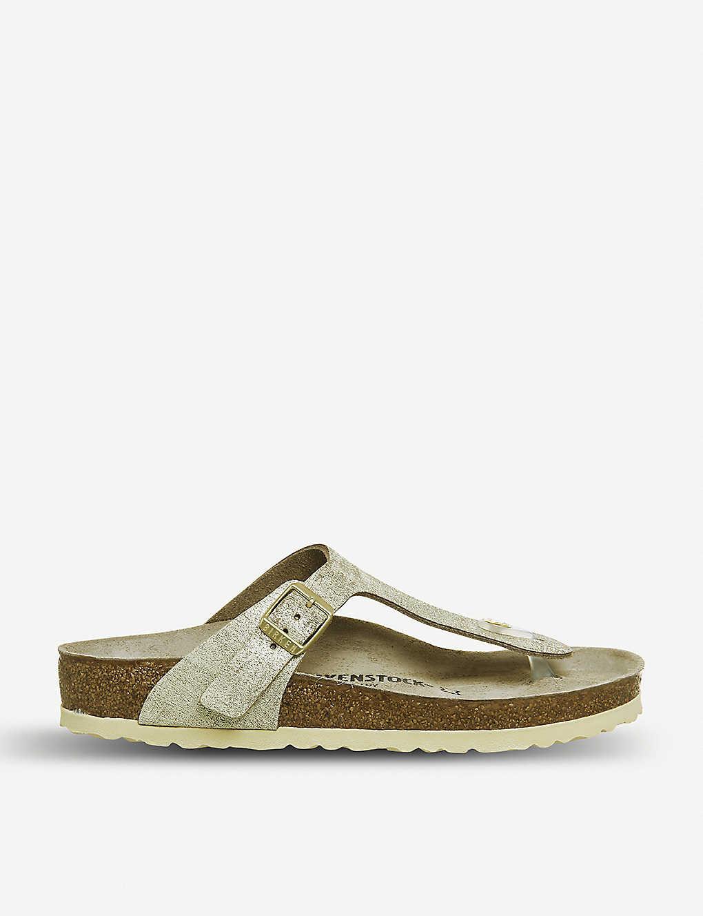 99da0b0a73421 BIRKENSTOCK - Gizeh metallic-suede sandals