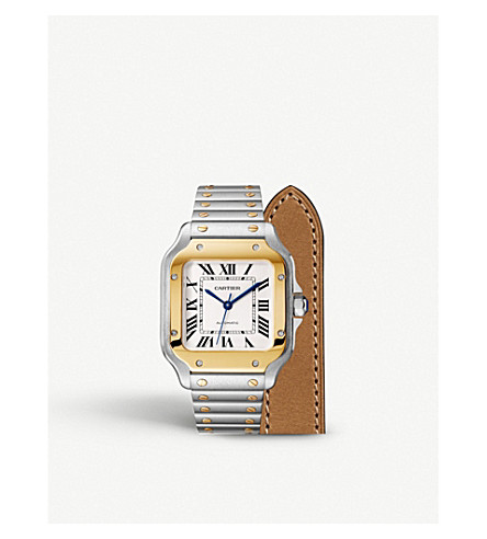 b333123a580 CARTIER - Santos de Cartier 18ct gold and stainless steel automatic ...