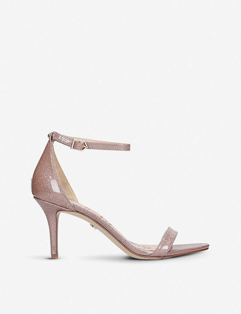 36d79804ec7fc0 SAM EDELMAN - Patti glittered patent-leather two-part sandals ...