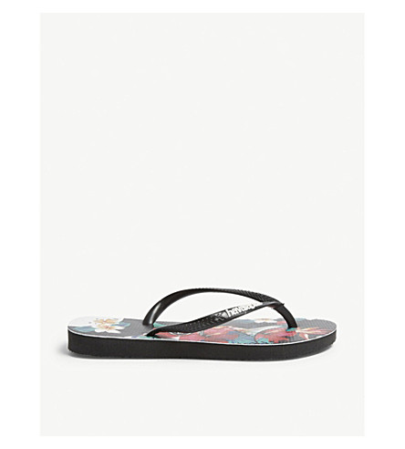bdc81bd03665 ... HAVAIANAS Tropical floral slim flip-flops (Black. PreviousNext