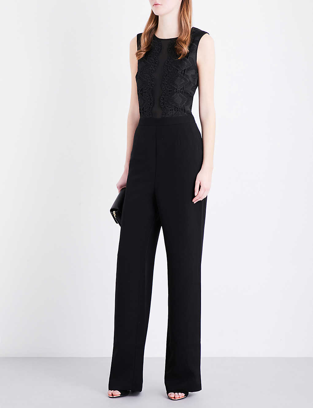 d25c2715e9a7 TED BAKER - Lace panel chiffon and crepe jumpsuit
