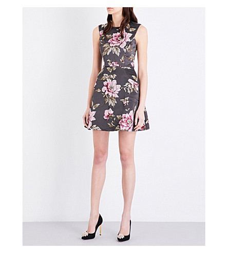 ... TED BAKER Kinella floral-jacquard skater dress (Gunmetal. PreviousNext 4b5e655b1