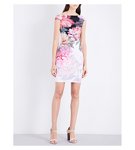 248eeac0ab31c TED BAKER - Emly painted posie off-the-shoulder crepe dress ...
