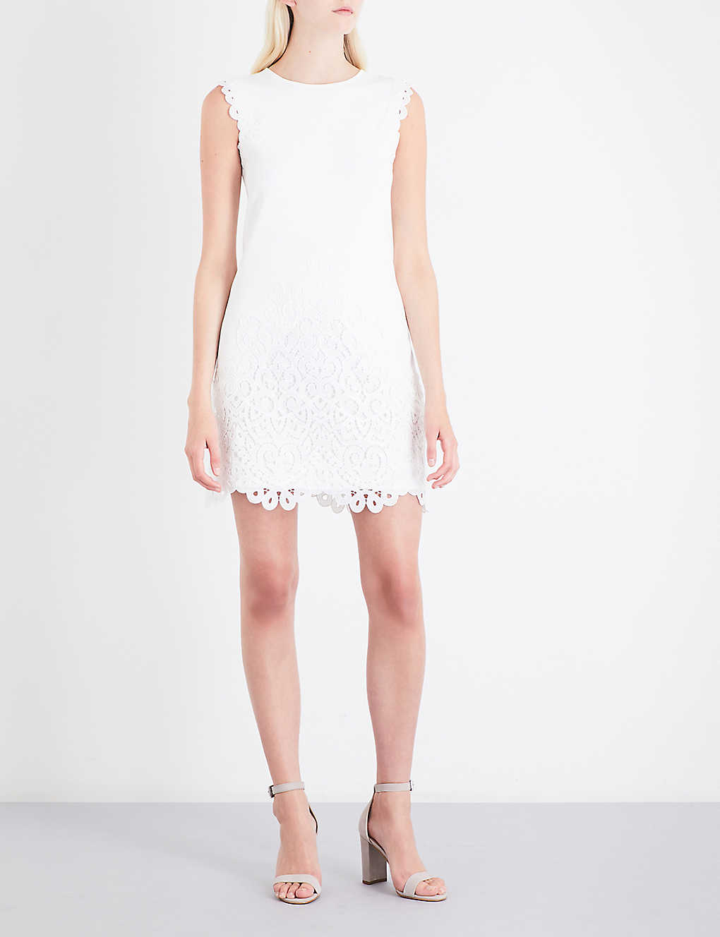 9802b2f8b8944 TED BAKER - Lace-trimmed knitted dress