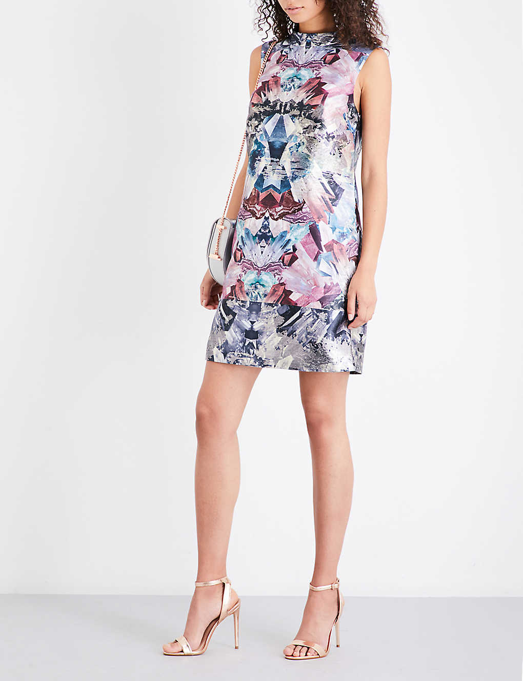 666bc22e0b2ce TED BAKER - Heidy Mirrored Minerals-print jacquard tunic dress ...