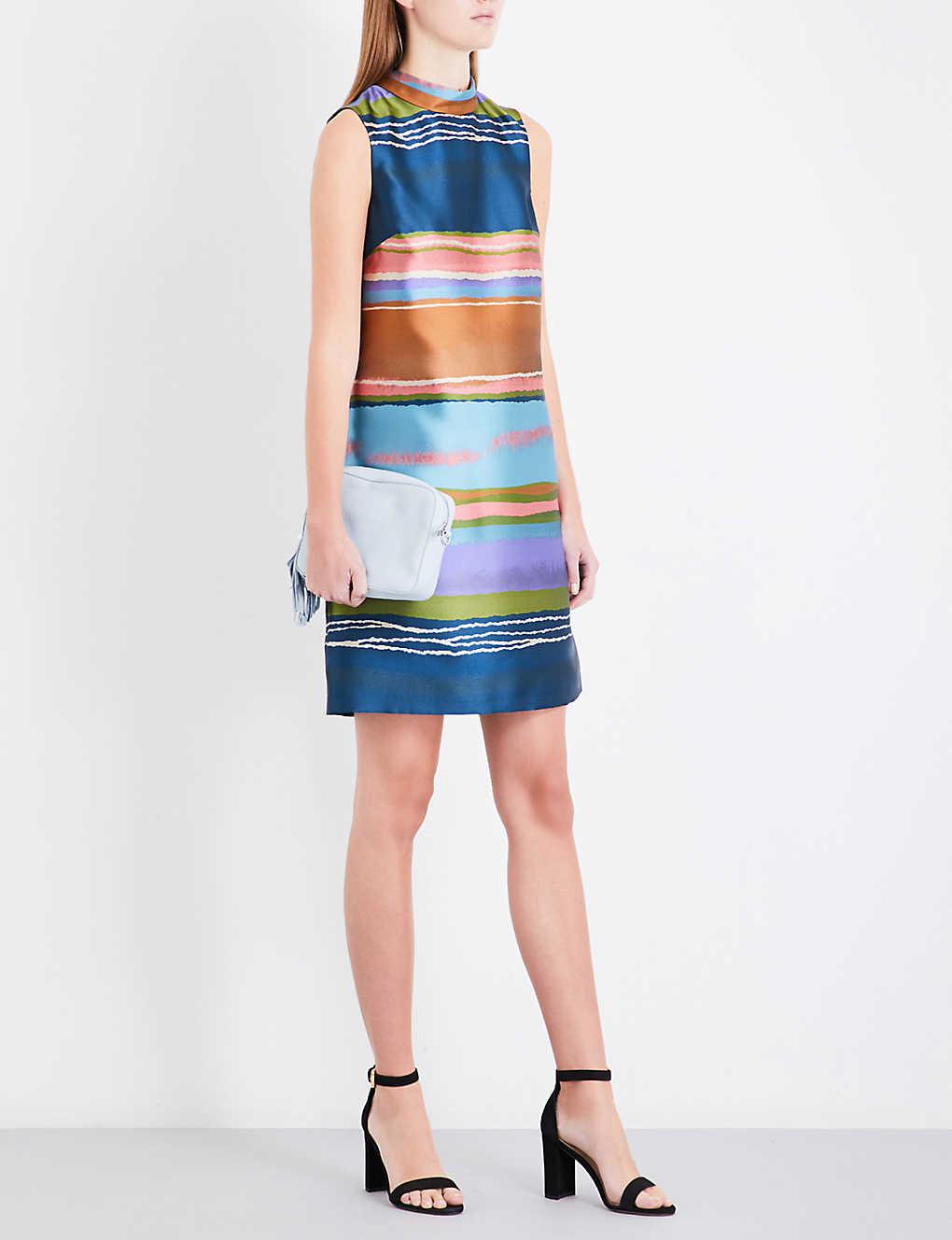 8ed13971e8f350 TED BAKER - Ivara striped satin-jacquard dress