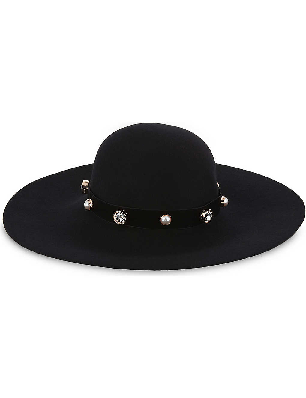 ef681e19f97e1 TED BAKER - Crystal and faux-pearl wool hat