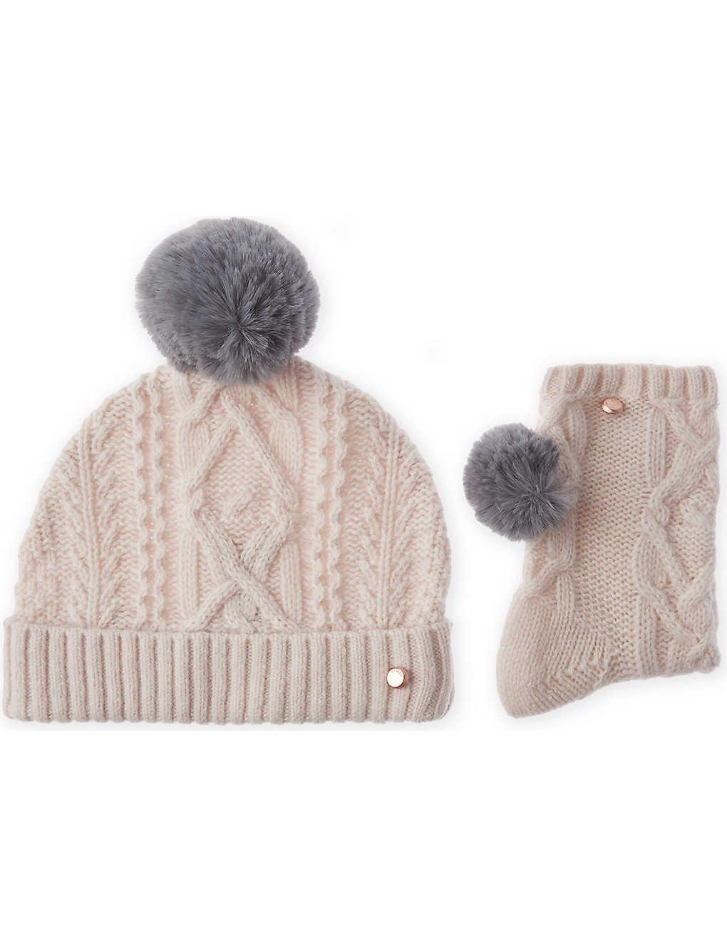 TED BAKER - Raisa knitted bobble hat and sock set  e432097c1191