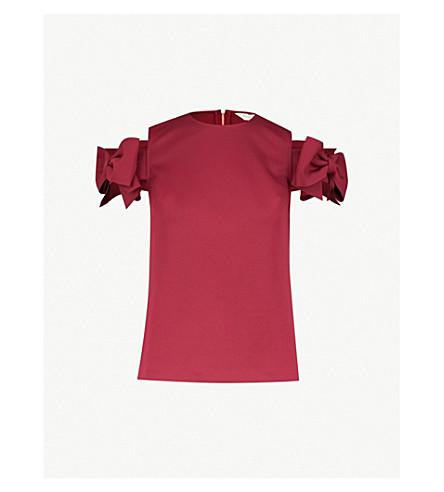 4ef305d3732f1 ... TED BAKER Medoll cold-shoulder bow-embellished jersey top (Maroon.  PreviousNext