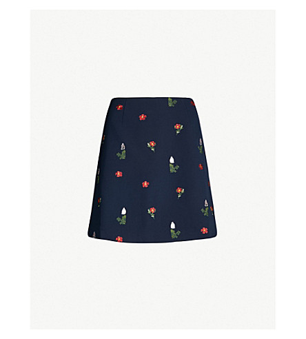 Kirstenbosch Floral Embroidered Crepe Mini Skirt by Ted Baker