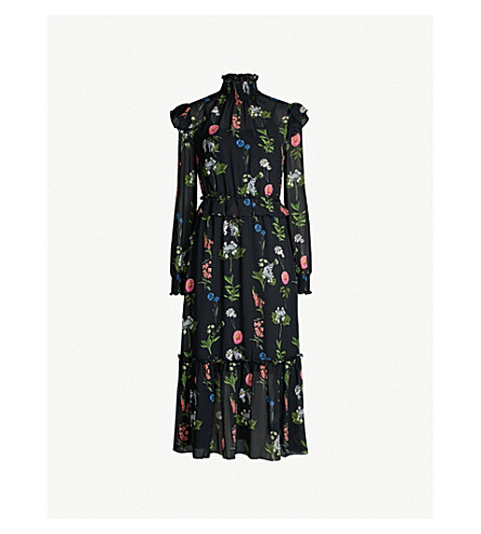 f741f840a523c9 ... TED BAKER Simarra Florence floral print chiffon midi dress (Black.  PreviousNext