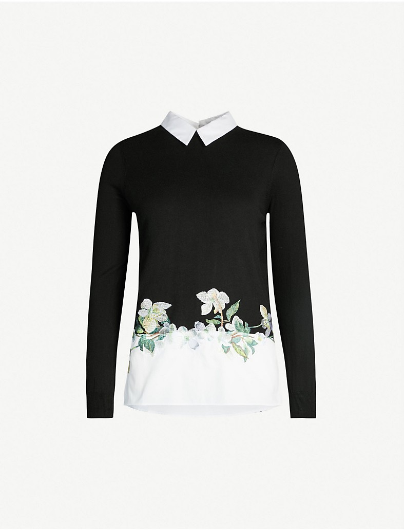 6ad10b14ebd89 TED BAKER - Gorgiin floral embroidered cotton sweater