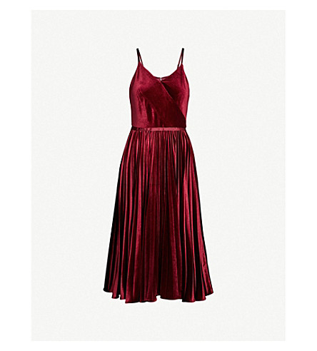17cc0eaec54ee TED BAKER - Pleated-skirt velvet midi dress