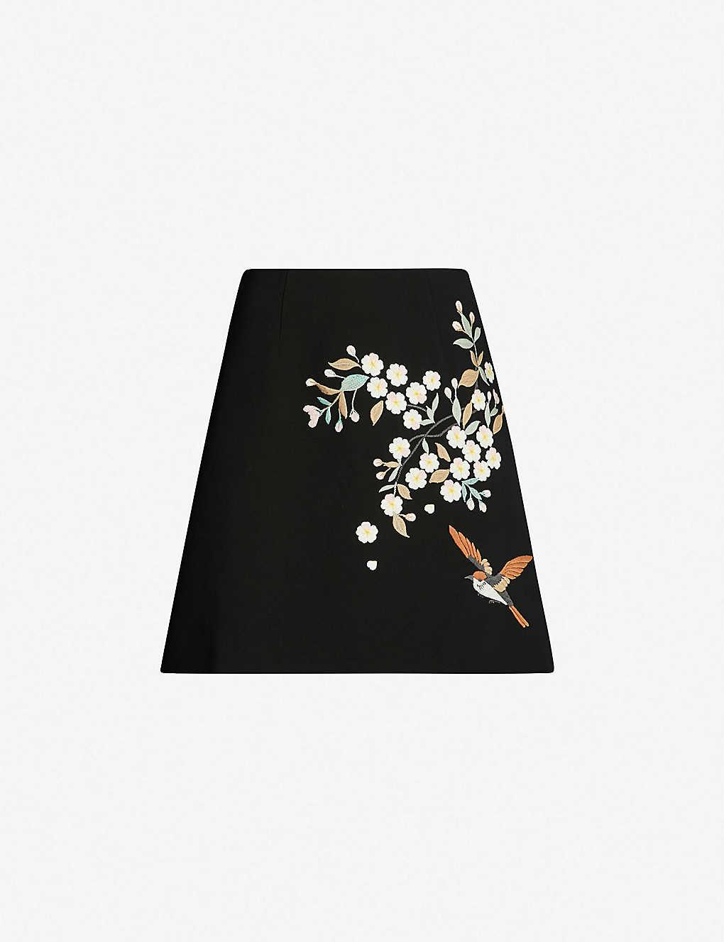 37f2d526a8d6 TED BAKER - Graceful-print crepe mini skirt