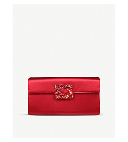 72aa4bc4dc ... ROGER VIVIER Envelope Flowers silk-satin clutch bag (Red. PreviousNext