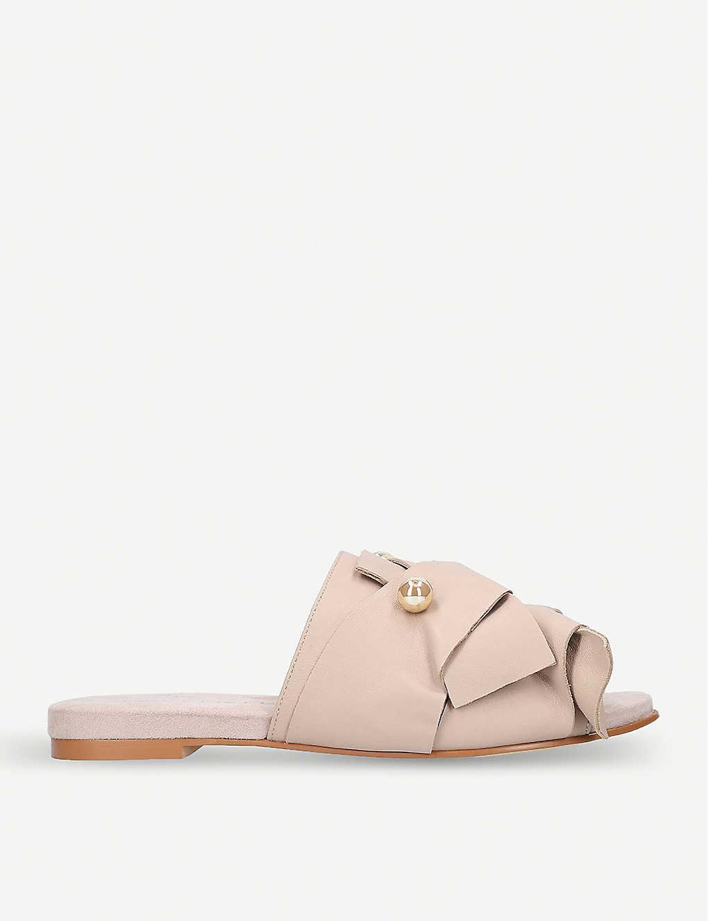KURT GEIGER LONDON - Naomi embellished suede flat mules