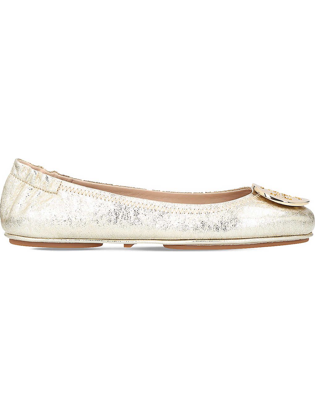 c878458eae2f11 TORY BURCH - Minnie Travel metallic leather ballet flats ...