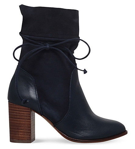 KURT GEIGER LONDON - Demi leather and suede heeled ankle boots ... f114ce361