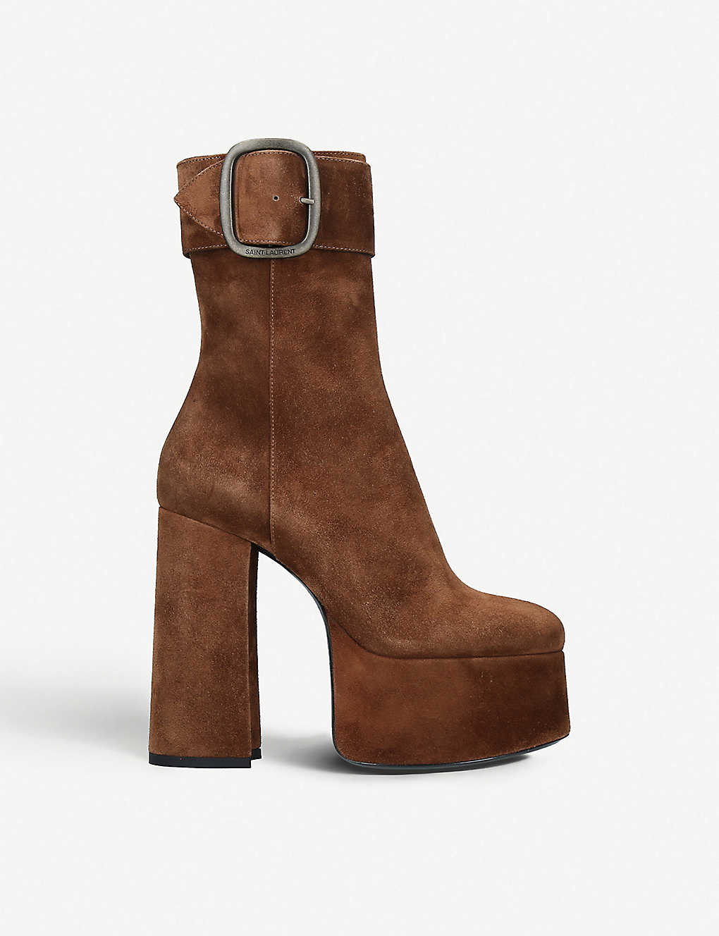 0892a7c73f3 SAINT LAURENT - Billy oversized-buckle suede platform ankle boots ...