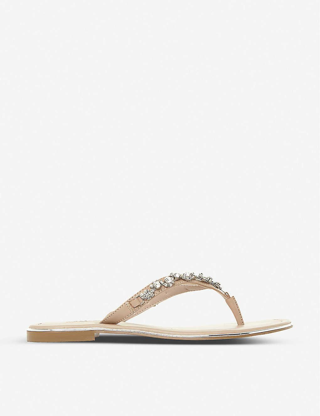 78b63844f9d2f DUNE - Newbie embellished leather flip-flops