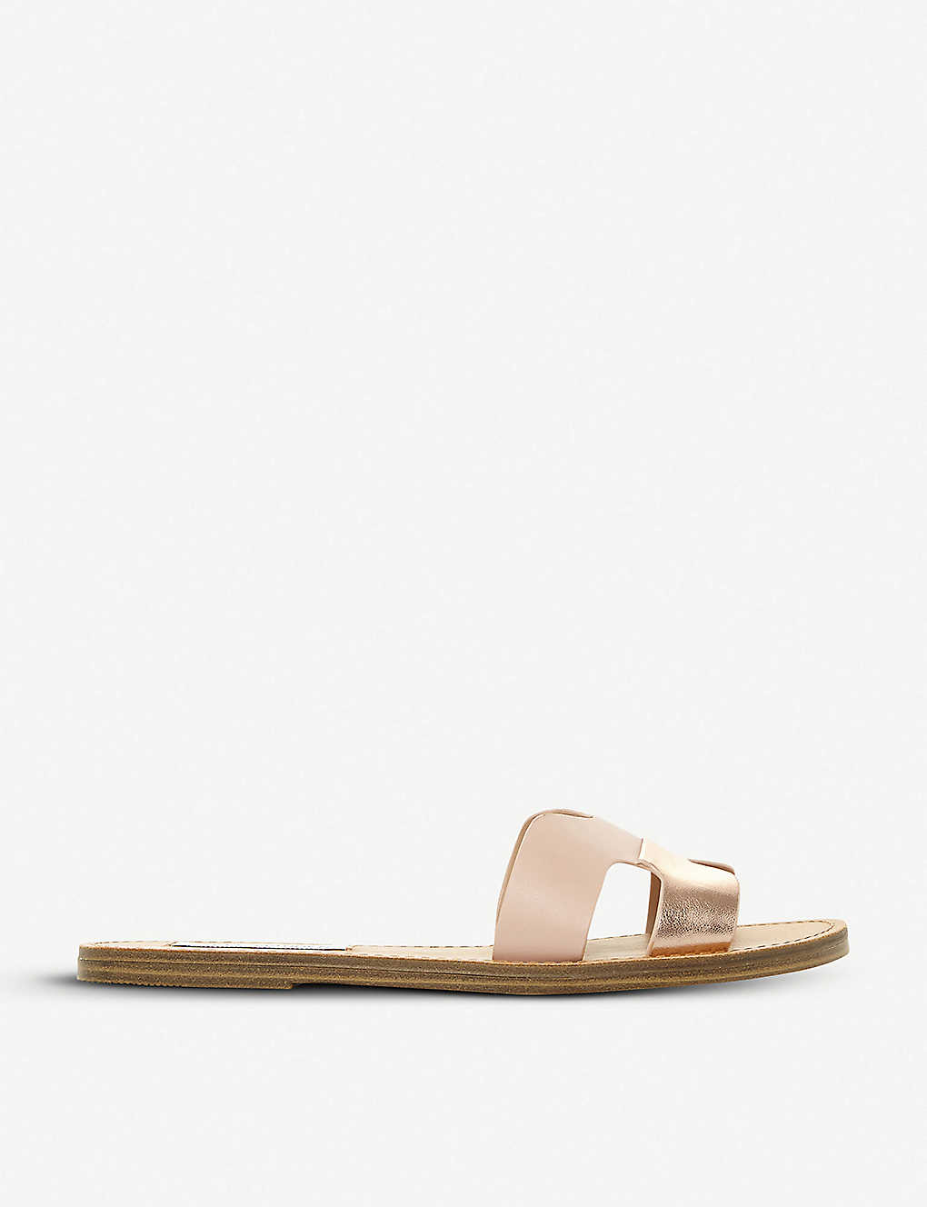 7802e1afc96 STEVE MADDEN - Lisa faux-leather metallic cut out sliders ...