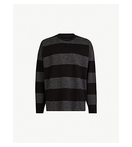 c861364ae ... ALLSAINTS Bendela striped knitted sweatshirt (Blackgrey. PreviousNext
