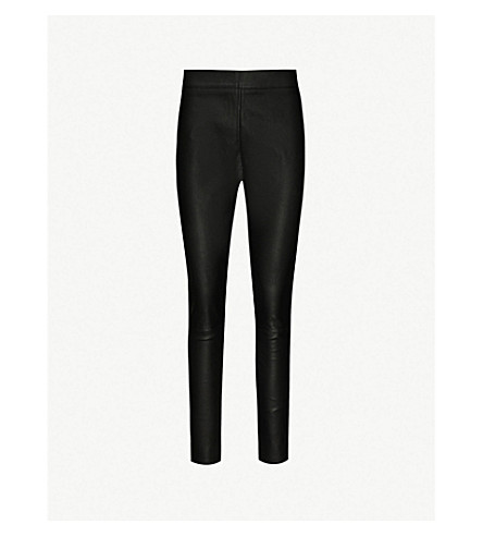 Valerie Skinny Leather Trousers by Reiss