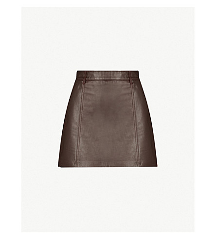 49186065208a ... REISS Mimi leather A-line mini skirt (Ox+blood. PreviousNext