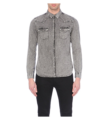 644ad8d150 ... THE KOOPLES Stonewashed western denim shirt (Light+grey. PreviousNext