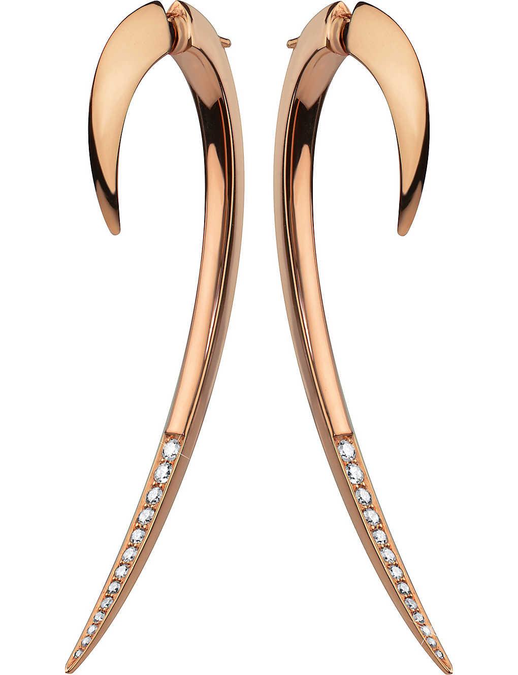 f582fc273 SHAUN LEANE - Tusk rose gold vermeil and diamond earrings ...