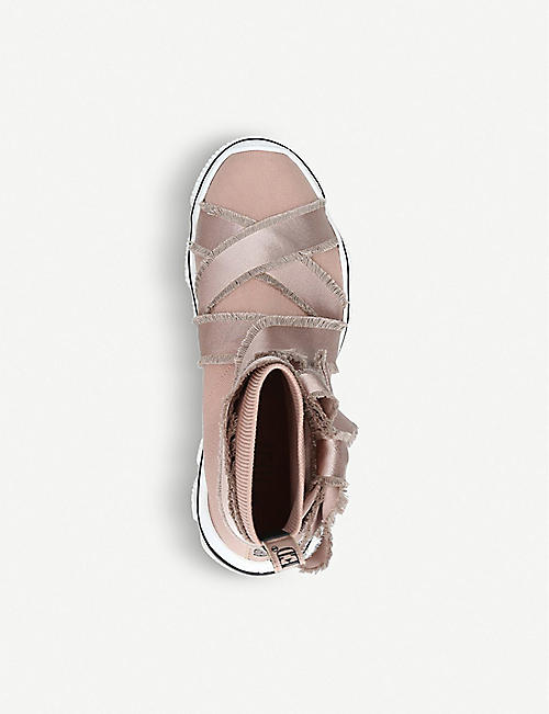 RED VALENTINO Ribbon-trimmed stretch-knit ballet trainers