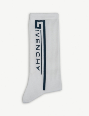 GIVENCHY Logo-intarsia ribbed cotton socks