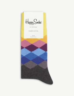 HAPPY SOCKS Faded diamond cotton-blend socks