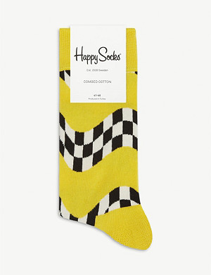 HAPPY SOCKS Wavy racing flag cotton-blend socks