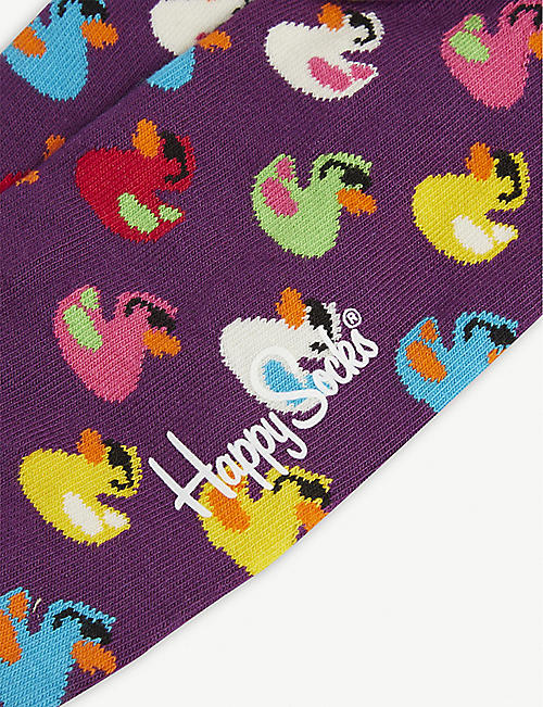 HAPPY SOCKS Rubber duck print cotton-blend socks